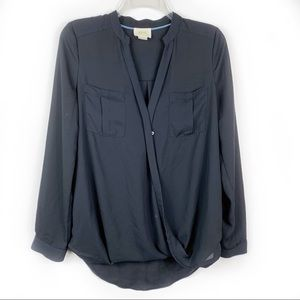Maeve Black Eva Wrap Front Long Sleeve Blouse